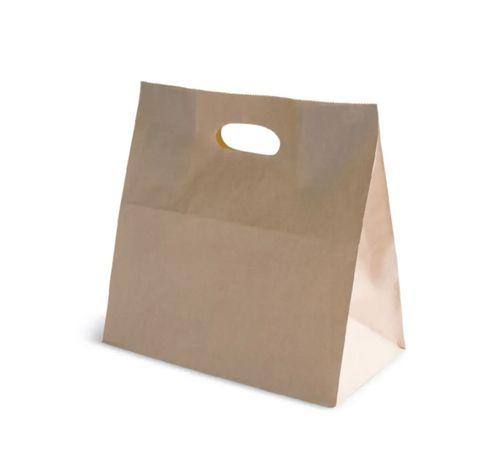 #50 Brown Paper Bag Die Cut Handle 280mm(L) x 280mm(W) + 150mm(G) - Box of 500