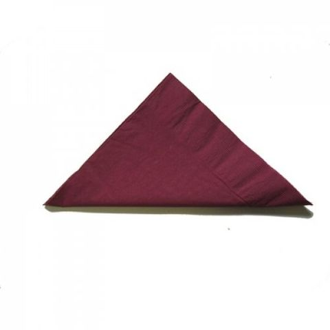 Burgundy 2 Ply Coloured 1/4 Fold Luncheon Serviettes 320mm x 320mm - Box of 2,000