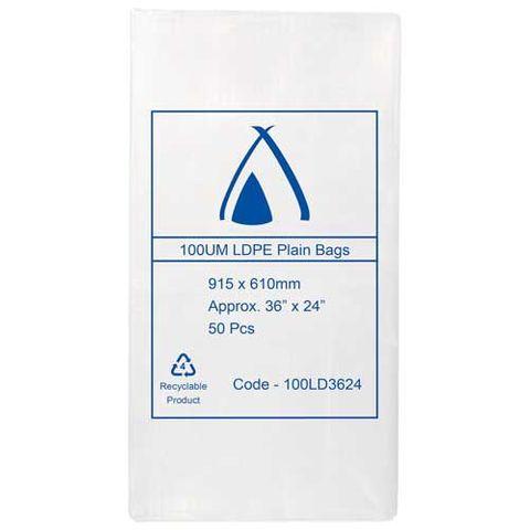 "Heavy Duty Clear Plastic LDPE Wood Bag 100 Micron 36"" x 24"" / 915mmx 610mm - PACK=50 / BOX=200"