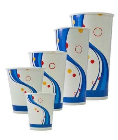 Printed 12oz / 360ml Milk Shake Paper Cups Blue Print Design - Box of 500