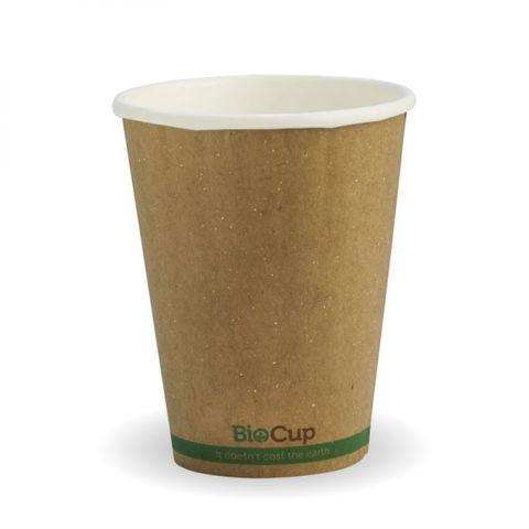 BioPak 8oz / 240ml Double Wall Brown W/Green Stripe Coffee Cups 80mm Diameter - Box of 1,000