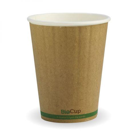 BioPak 12oz / 360ml Double Wall Brown W/Green Stripe Coffee Cups 90mm Diameter - Box of 1,000