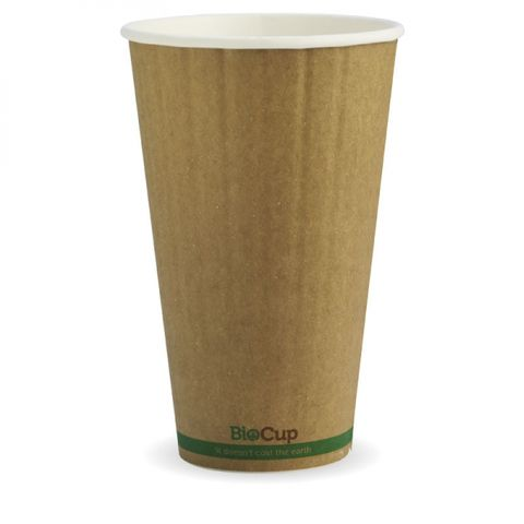 BioPak 16oz / 480ml Double Wall Brown W/Green Stripe Coffee Cups 90mm Diameter - Box of 600