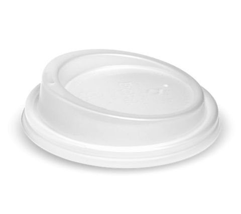 BioPak 8oz / 12oz / 16oz Bio Degradable Cup Lids White Frosted 90mm Diameter - Box of 1,000