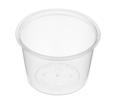 Small Round Clear Plastic 100ml Sauce Container 80mm Diameter - SLEEVE=50 / BOX=1,000