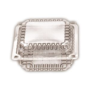 Clear Plastic Premium Small Square Clam Hinged Container 117mm(L) x 203mm(W) x 40mm(H) (CL1) - SLEEVE=250 / BOX=500