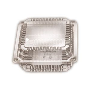 Clear Plastic Premium Large Square Clam Hinged Container 129mm(L) x 258mm(W) x 40mm(H) (CL2) - SLEEVE=125 / BOX=500