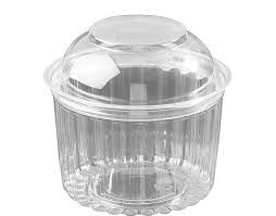 Plastic Show Bowl Clear with Dome Hinged Lids 16oz / 480ml - SLEEVE=50 / BOX=250