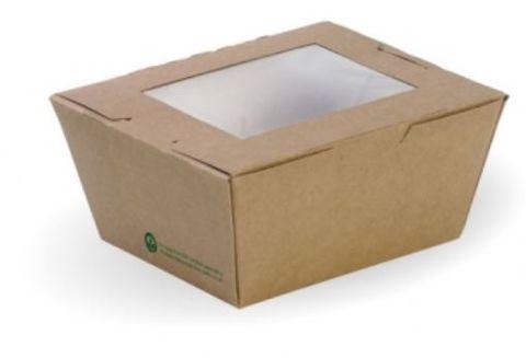BioPak Cardboard Window Lunch Boxes Small 110mm(L) x 90mm(W) x 64mm(H) - Box of 200