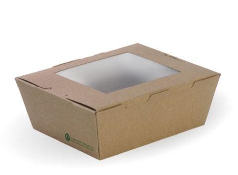 BioPak Cardboard Window Lunch Boxes Medium 152mm(L) x 120mm(W) x 64mm(H) - Box of 200