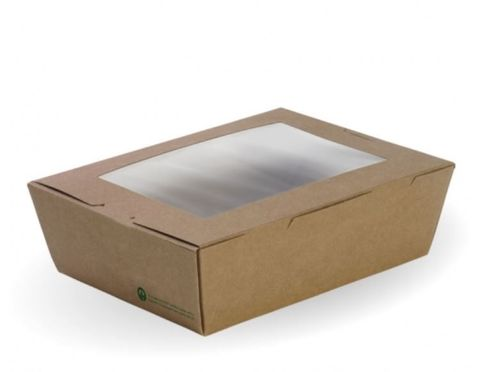 BioPak Cardboard Window Lunch Boxes Large 197mm(L) x 140mm(W) x 64mm(H) - Box of 200