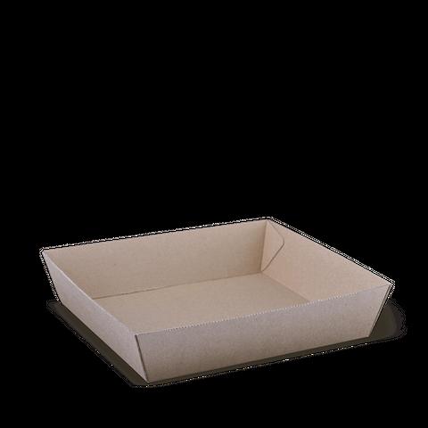 Eco Kraft Board Tray 2 Brown Cardboard 178mm(L) x 178mm(W) x 45mm(H) - SLEEVE=125 / BOX=250