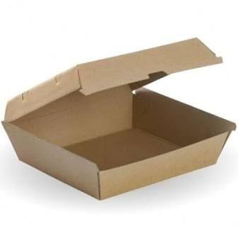 Eco Kraft Board Dinner Boxes Brown Cardboard 178mm(L) x 160mm(W) x 80mm(H) - SLEEVE=25 / BOX=150