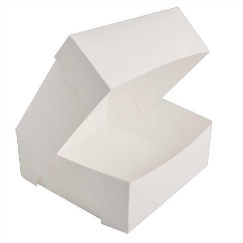 "White Pastry / Cake Box 9"" x 9"" x 4"" / 225mm(L) x 225mm(W) x 100mm(H) - Packet of 50"