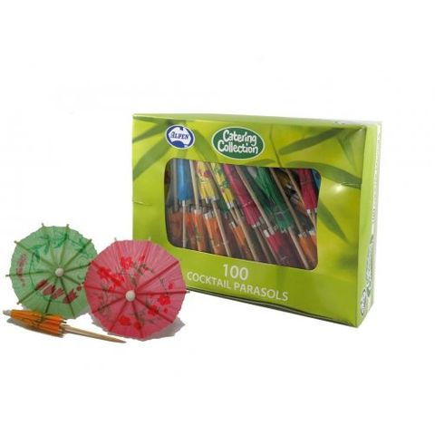 Bamboo Cocktail Parasols Assorted Colours - Pack of 100