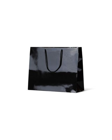 Laminated Gloss Emerald Black Paper Bags Rope Handle 250mm(L) x 330mm(W) x 125mm(H) - Box of 100