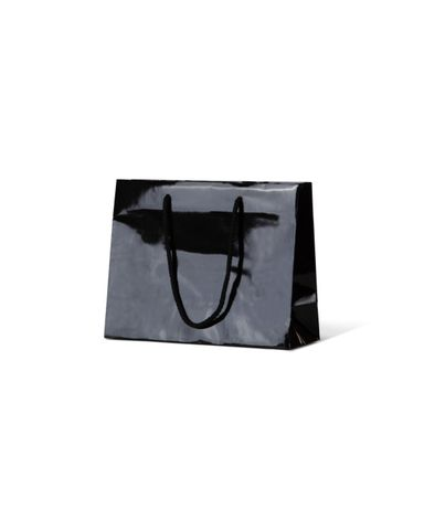 Laminated Gloss Emerald Black Paper Bag Rope Handle 200mm(L) x 250mm(W) + 100mm(G)- Box of 200