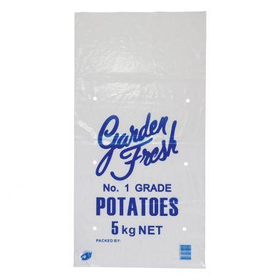 5kg Printed Pink LDPE Potato Bag - Box of 1,000