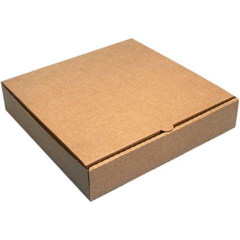 "Flat Plain Brown Cardboard Pizza Box 13"" / 25cm - Packet of 50"