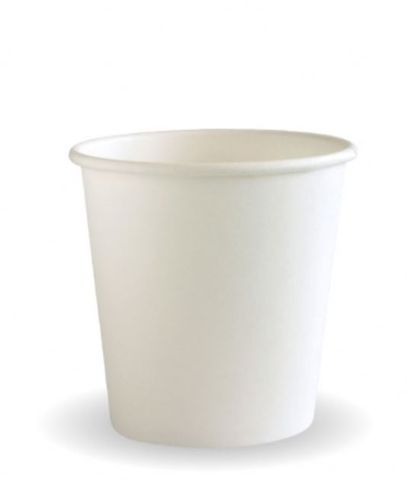 BioPak 4oz / 120ml Single Wall Coffee Cups Plain White 62.8mm Diameter - Box of 1,000