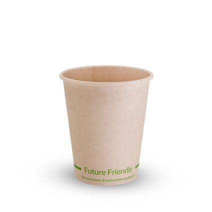 Future Friendly Bamboo 8oz / 240ml Single Wall Uni Lid Hot Cup + PLA Lining 90mm Rim - SLEEVE=50 / BOX=1,000