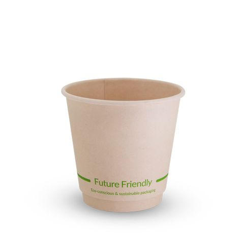 Future Friendly 8oz / 240ml Bamboo Short Double Wall Hot Cup with PLA Lining 90mm Rim - SLEEVE=25 / BOX=500