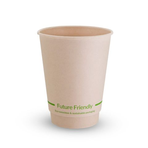 Future Friendly 12oz / 360ml Bamboo Double Wall Hot Cup with PLA Lining 90mm Rim - SLEEVE=25 / BOX=500