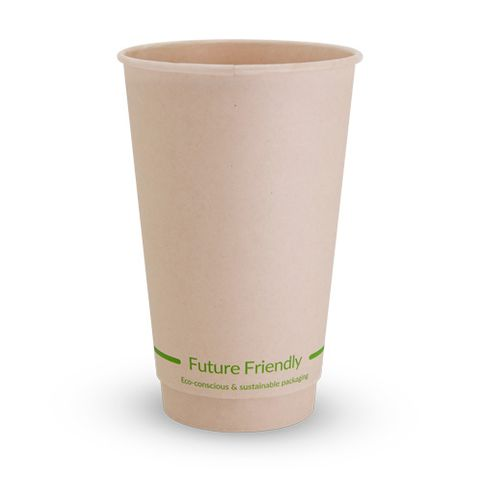 Future Friendly 16oz / 480ml Bamboo Double Wall Hot Cup with PLA Lining 90mm Rim - SLEEVE=25/ BOX=500