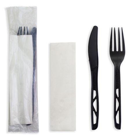 Future Friendly Black Heavy 100% CPLA Cutlery Kit: Knife + Fork + Napkin (PLA Bag) - Black - Box 250
