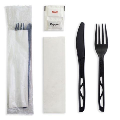 Future Friendly (Black) Heavy 100% CPLA Cutlery Kit: Knife + Fork + Napkin +S&P (PLA Bag) - Black - Box 250