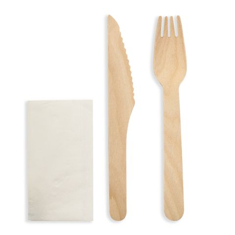 Future Friendly Natural Wooden Birchwood 16cm Knife, Fork & Napkin Set (Paper Wrapper) - Box 400