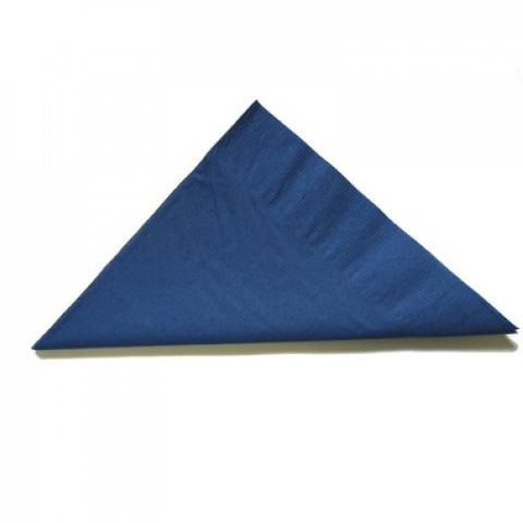 Dark Blue 2 Ply Dinner Serviettes 1/4 Fold 400mm x 400mm - Box of 1,000