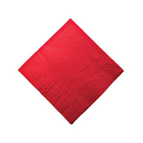 Red 2 Ply Dinner Serviettes 1/4 Fold 400mm x 400mm - Box of 1,000