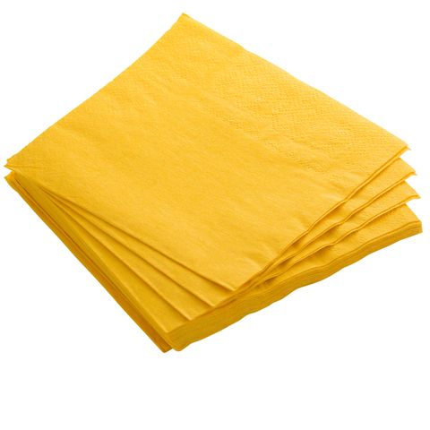 Yellow 2 Ply Coloured 1/4 Fold Luncheon Serviettes 320mm x 320mm - Box of 2,000