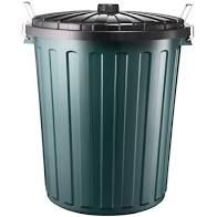 Large Green Plastic Round Bin 75L/80L Lockable Sides with Lid - Each