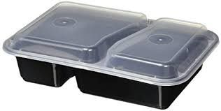 PP Food Tray 2 Compartment Microwaveable Container Lid - Box of 250