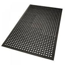 Black Rubber Floor Mat Heavy Duty with Holes 1500mm x 900mm - Each