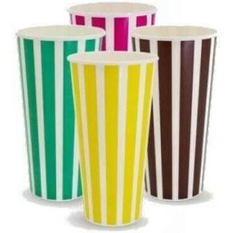 Printed 16oz / 485ml Milk Shake Paper Cups Candy Stripe Rainbow Design - SLEEVE=50 / BOX=1,000