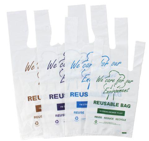 Reusable 37umLegally Compliant Reusable Small Carry Bag Green Printed 40cm(L) x 20cm(W) +10cm(G) - PACK=200 / BOX=2,000