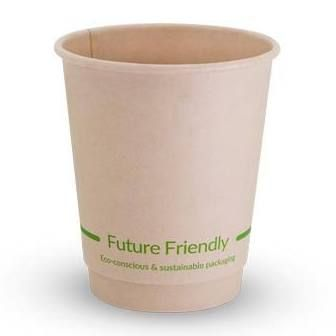 Future Friendly Bamboo 8oz Short Double Wall Hot Cup with PLA Lining 90mm Rim - Carton 500