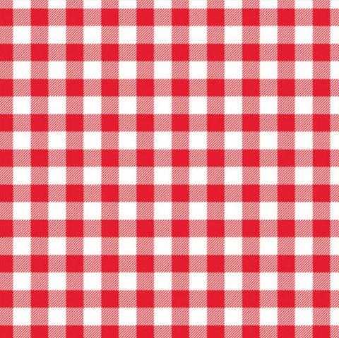 Gingham Grease Proof Paper Red / White Check Paper Squares 25cm x 25cm Printed Paper - Pack of 800 Sheets