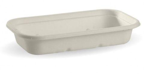 BioPak Bio Cane 750ml White Rectangular Takeaway Bases - Box of 500