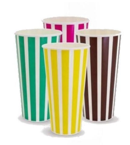 Milkshake Paper Cups 24oz / 680ml Milk Shake Paper Cups Candy Stripe Rainbow Design - SLEEVE=25 / BOX=500