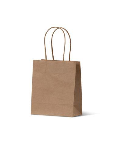 Brown Kraft Loop Handle Bag Runt 165mm(H) x 140mm(W) x 75mm(G) - EACH=1 / BOX=500