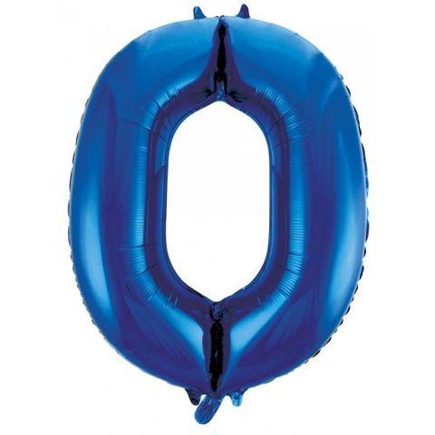 """Decrotex 34"""" Blue Foil Balloon Numeral 0 - Retail Pack Each"""