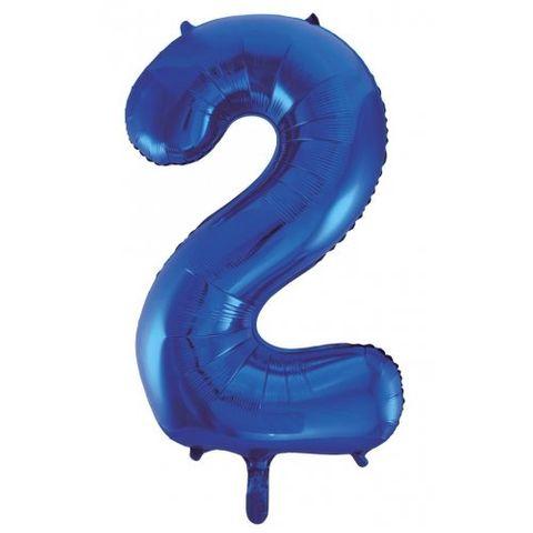 """Decrotex 34"""" Blue Foil Balloon Numeral 2 - Retail Pack Each"""