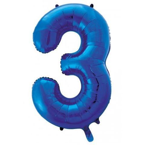 """Decrotex 34"""" Blue Foil Balloon Numeral 3 - Retail Pack Each"""
