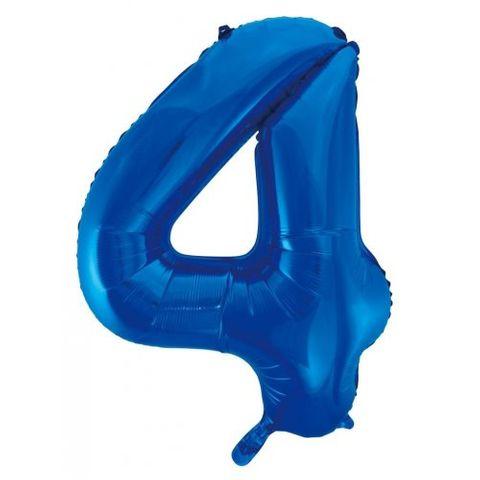 """Decrotex 34"""" Blue Foil Balloon Numeral 4 - Retail Pack Each"""