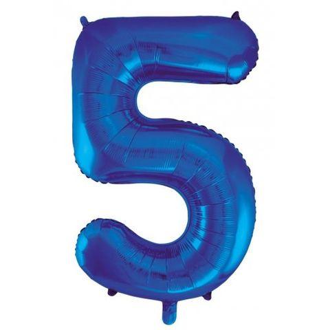 """Decrotex 34"""" Blue Foil Balloon Numeral 5 - Retail Pack Each"""