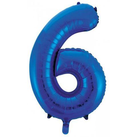 """Decrotex 34"""" Blue Foil Balloon Numeral 6 - Retail Pack Each"""